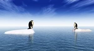 Antarctic penguins on ice - digital artwork
