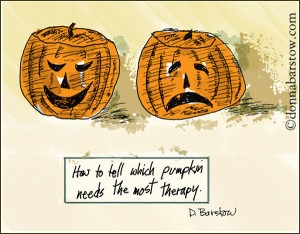 This is a Trick (or treat) question: The answer is either, neither, or both pumpkins. One could be minimizing, the other might be overreacting. The right answer is that more information is needed.